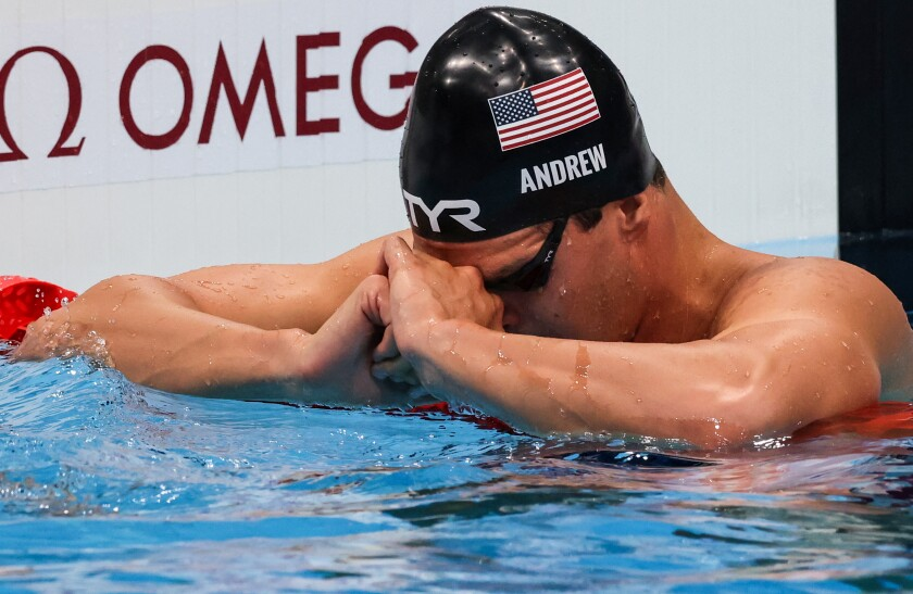 Tokyo, Japan, Friday, July 30, 2021 -USA swimmer Michael Andrew pause.