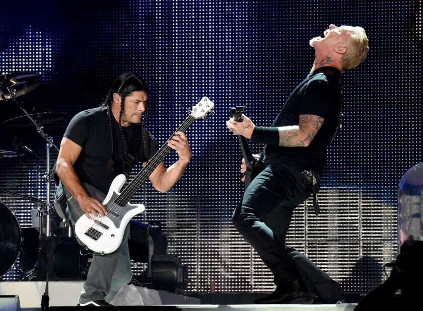 Musicians Robert Trujillo (left) and James Hetfield of Metallica perform onstage at the Rose Bowl on July 29, 2017 in Pasadena, California. (Kevin Winter/Getty Images)