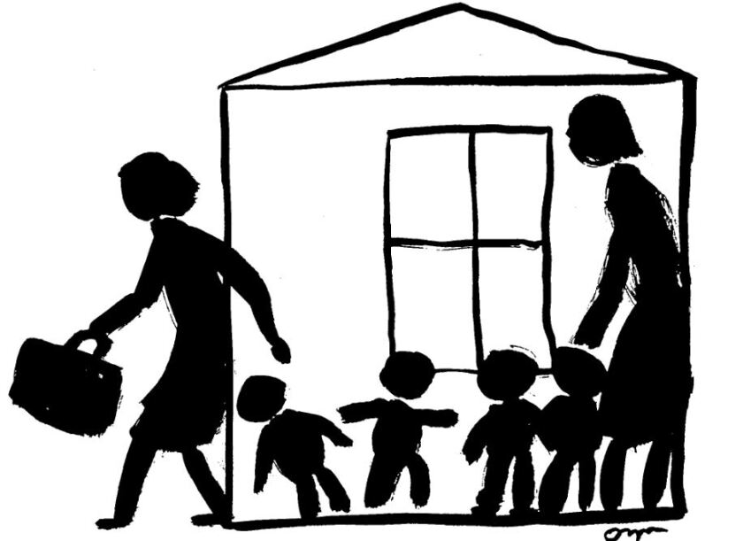 Illustration of a woman leaving children at home to go to work.