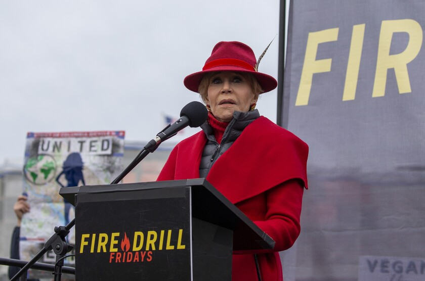 """Jane Fonda Holds Her Last """"Fire Drill Fridays"""" Rally At Capitol Hill"""