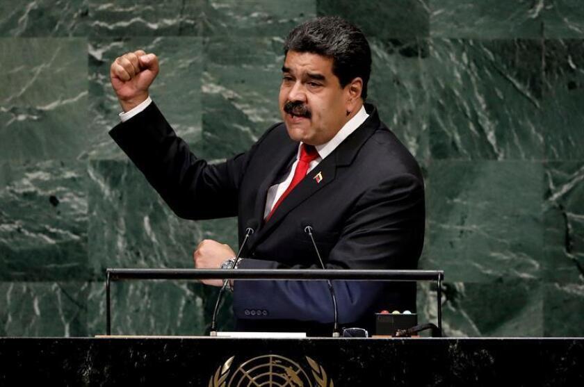 El presidente de Venezuela, Nicolás Maduro, hace su intervención durante el debate general de la Asamblea General de las Naciones Unidas (ONU) hoy, miércoles 26 de septiembre de 2018, en la sede del organismo, en Nueva York (EE.UU.). EFE