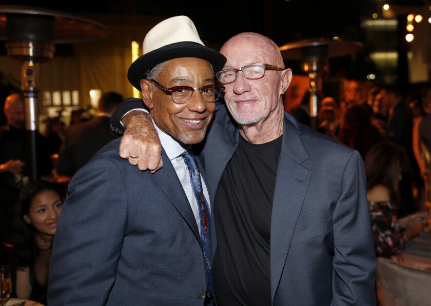 """Emmy nominees Giancarlo Esposito, left, and Jonathan Banks from """"Better Call Saul"""" at the 2019 Performers Nominee Reception."""