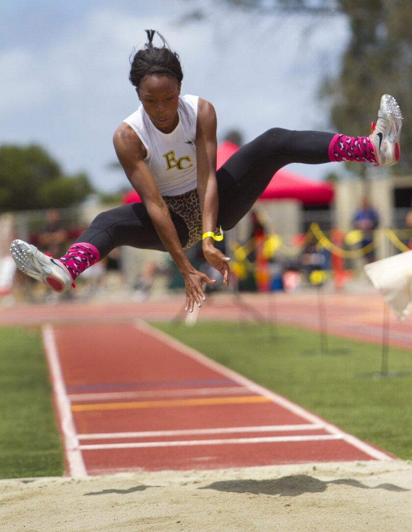 El Camino senior Jasmine Gibbs soars in the long jump, where she posted a winning mark of 19 feet, 6¼ inches. A photo gallery of the high school track and field championships is at