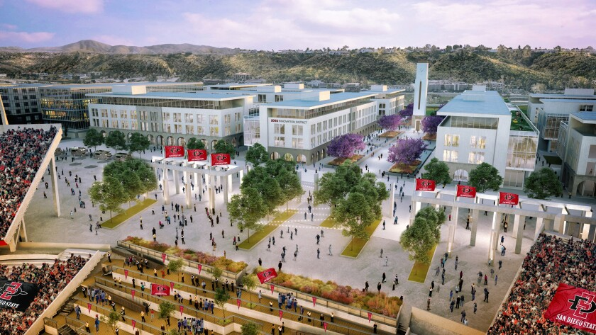 A rendering of the SDSU Mission Valley campus, which includes a so-called Innovation District where tech companies might commingle with university researchers.
