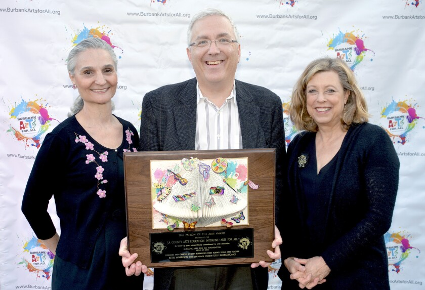 Patron of the Arts Award-winners, from left, Denise Grande, Mark Slavkin and Laura Zucker represented the Los Angeles County Arts Education Initiative at Friday's Party on the Plaza.