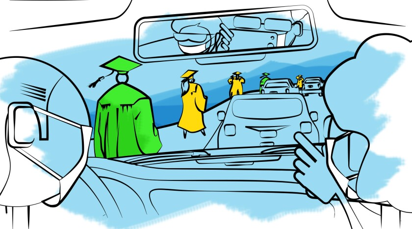 Illustration depicting a drive-through graduation.