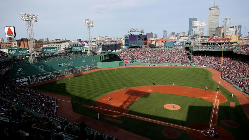 BOSTON, MA - APRIL 15: A general view of Fenway Park during the game between the Boston Red Sox and