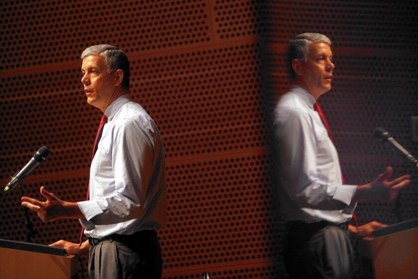 U.S. Secretary of Education Arne Duncan speaks to educators at Walt Disney Concert Hall at a forum on early childhood education. While there, he also met briefly with L.A. Unified Supt. Ramon C. Cortines to discuss the district's technology challenges.
