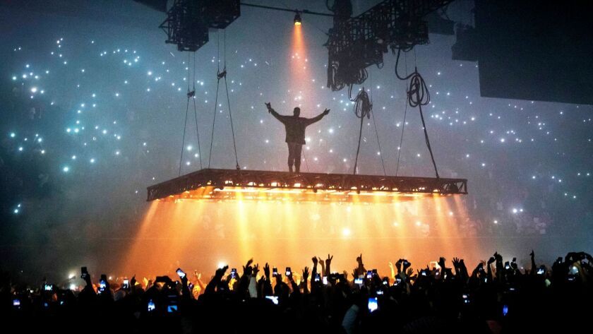 Kanye West, seen performing at the Forum in Inglewood last month, was among this year's 2017 Grammy nominees.