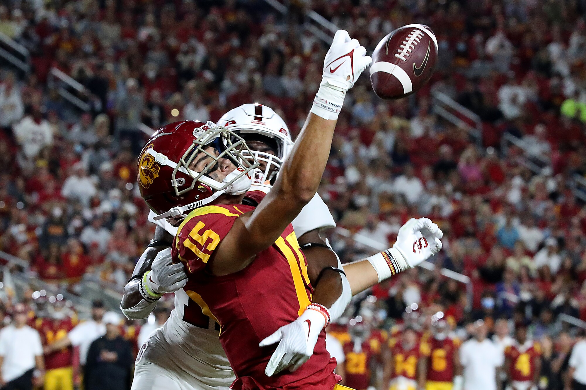 USC receiver Drake London can't hold on to the ball as Stanford cornerback Kyu Blu Kelly defends