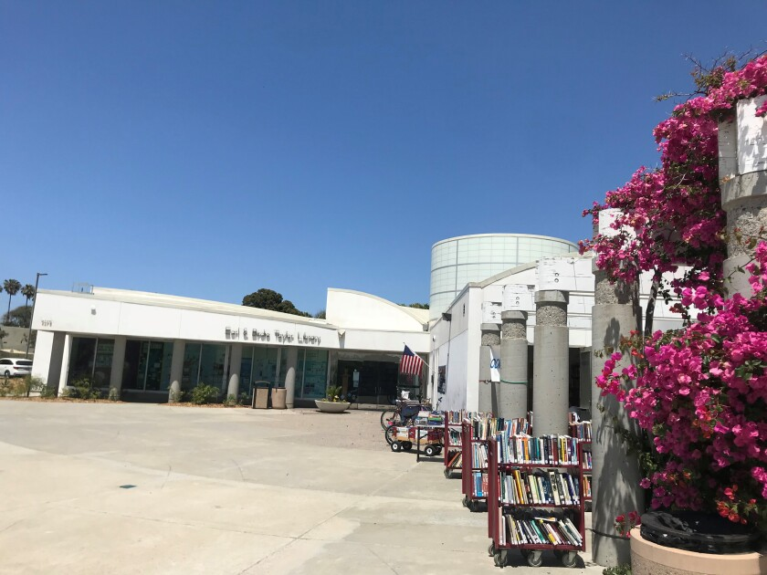 Exterior shot of today's Pacific Beach Library at 4275 Cass St.