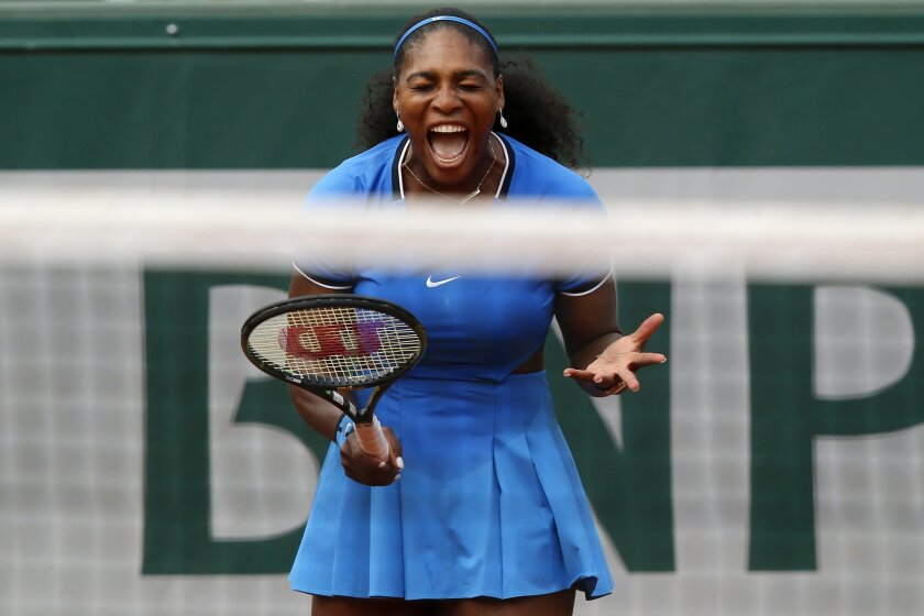 Serena Williams of the U.S. reacts as she plays Brazil's Teliana Pereira during their second round match of the French Open tennis tournament at the Roland Garros stadium, Thursday, May 26, 2016 in Paris. (AP Photo/Michel Euler)