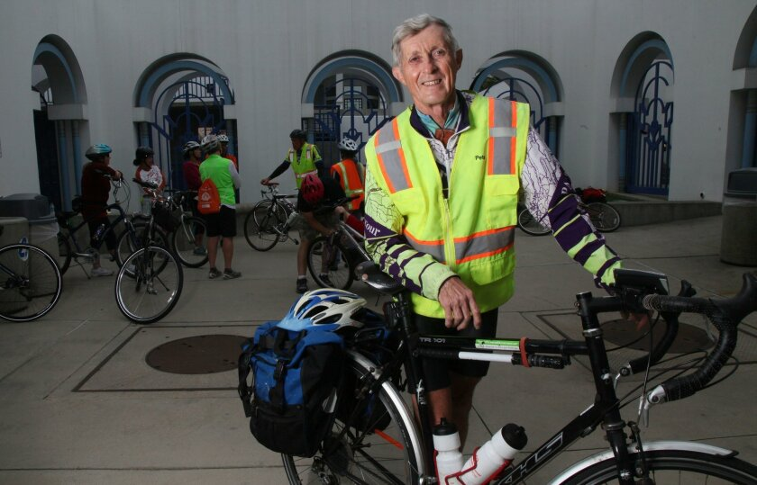 Pete Penseyres, 72, rides between 150 and 200 miles a week, and in 2008 competed in the Ride Across America. He teaches a bike safety class in Oceanside.
