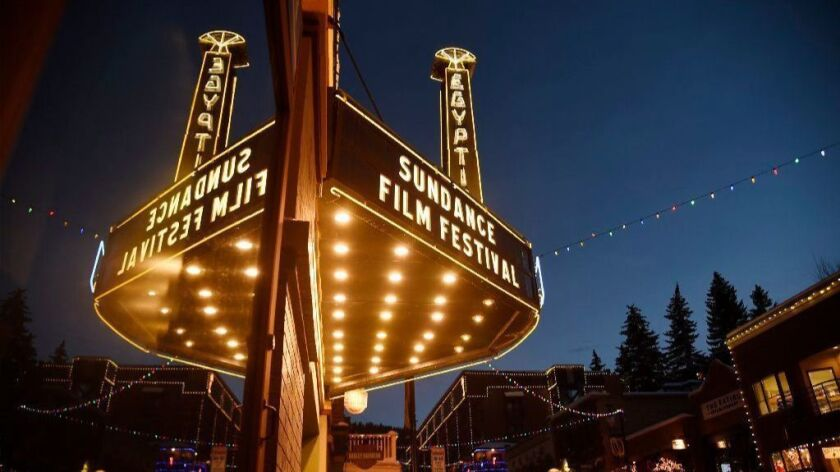 The marquee at the Egyptian Theatre appears on the eve of the 2017 Sundance Film Festival in Park City, Utah.