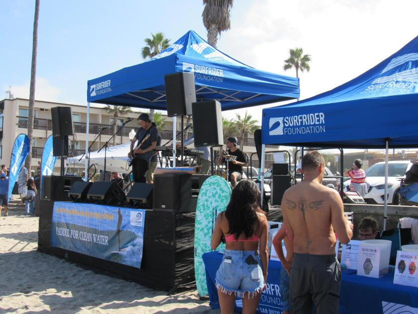 Musicians on the beach stage