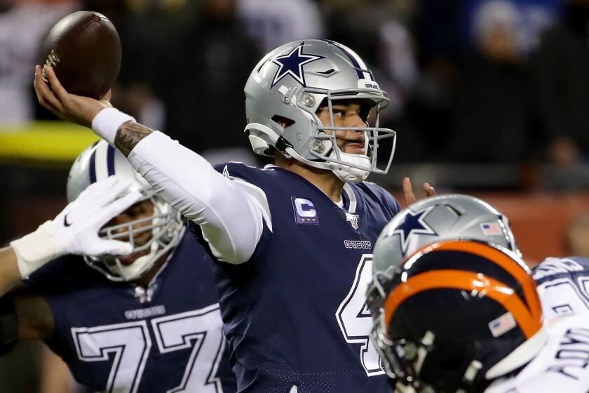 Cowboys quarterback Dak Prescott passes against the Bears on Dec. 5, 2019.