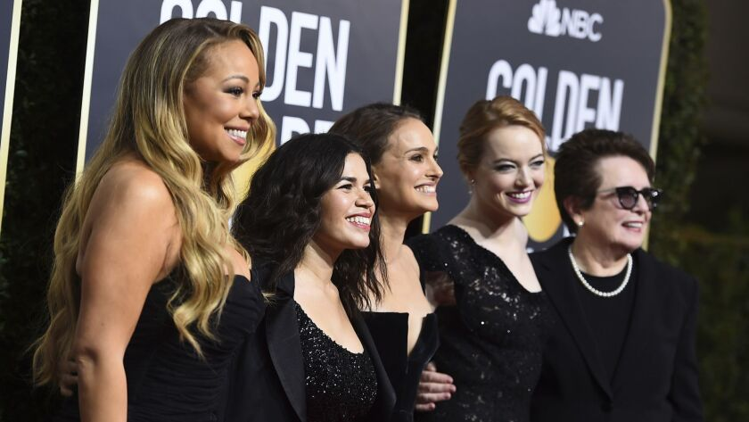 Stars wore all black on the red carpet of the 75th Golden Globe Awards in January, a key moment in the #MeToo and Time's Up movements against sexual harassment in Hollywood. From left, Mariah Carey, America Ferrera, Natalie Portman, Emma Stone and Billie Jean King.