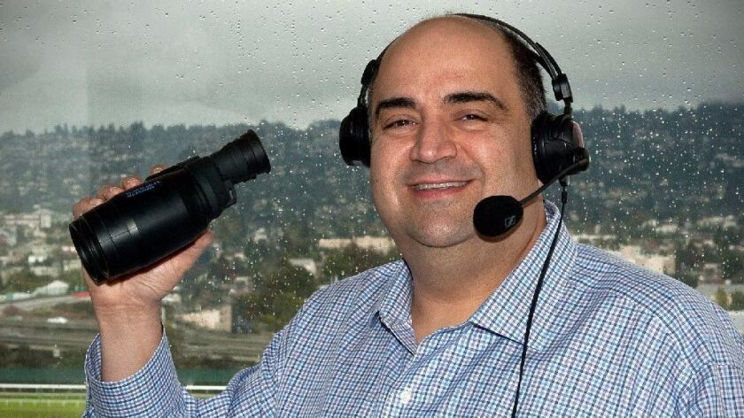 Frank Mirahmadi was a finalist for the race-announcer job at Santa Anita but didn't get it, and that was the best part of his year.