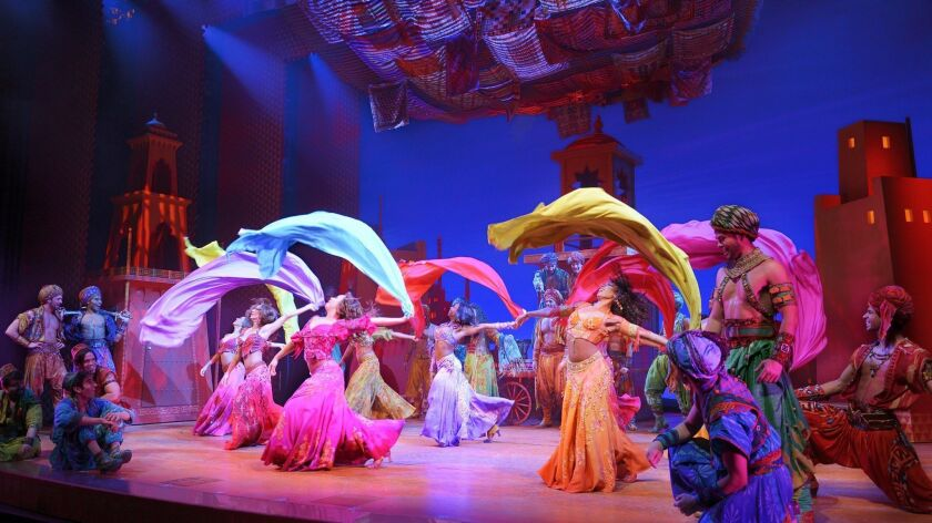 "A scene from the national touring production of ""Aladdin."""