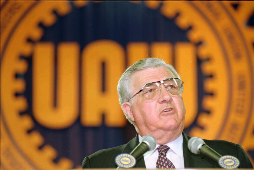 United Auto Workers President Owen Bieber addresses UAW convention delegates in Detroit in 1993.