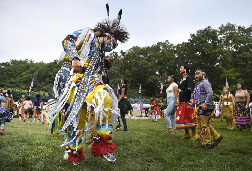 Una ceremonia de la tribu indígena Mashantucket Pequot en Mashantucket, Connecticut