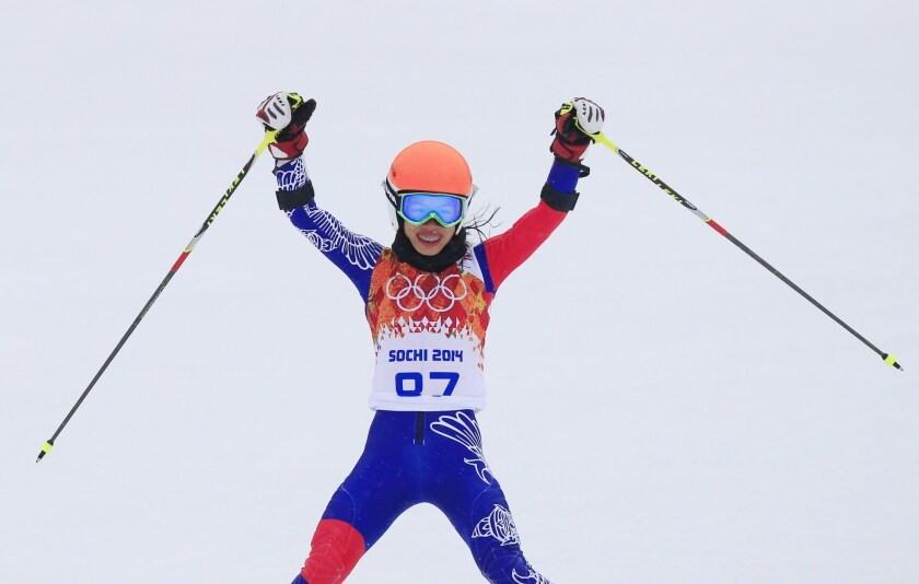 Thailand's Vanessa-Mae reacts after a giant slalom run during the Sochi Winter Olympics in February 2014.