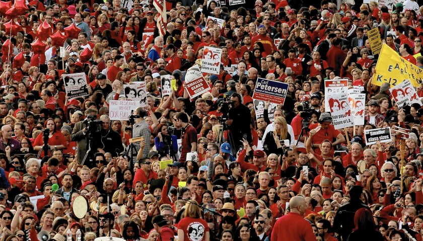 Thousands of L.A. Unified teachers attend a rally for contract demands.
