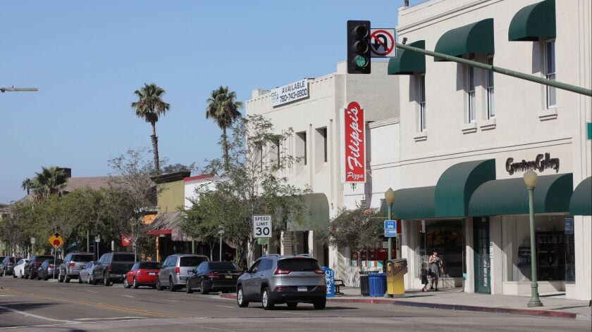 View looking down Grand Avenue in downtown Escondido, middle/right is Filippi's Pizza Grotto.