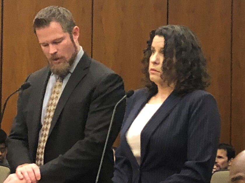 Rebecca Dalelio, 43, appeared in court on Jan. 13 to face two felony charges for allegedly throwing a menstrual cup full of blood onto state senators on the last day of the legislative session in 2019. She appeared with her lawyer, Chet Templeton.