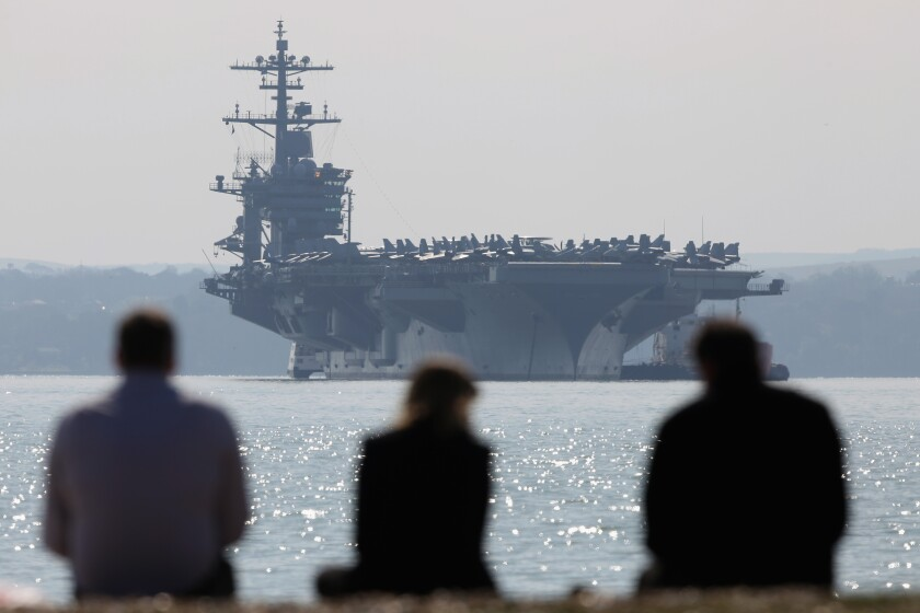 American Aircraft Carrier Anchors Off The Coast Of Hampshire