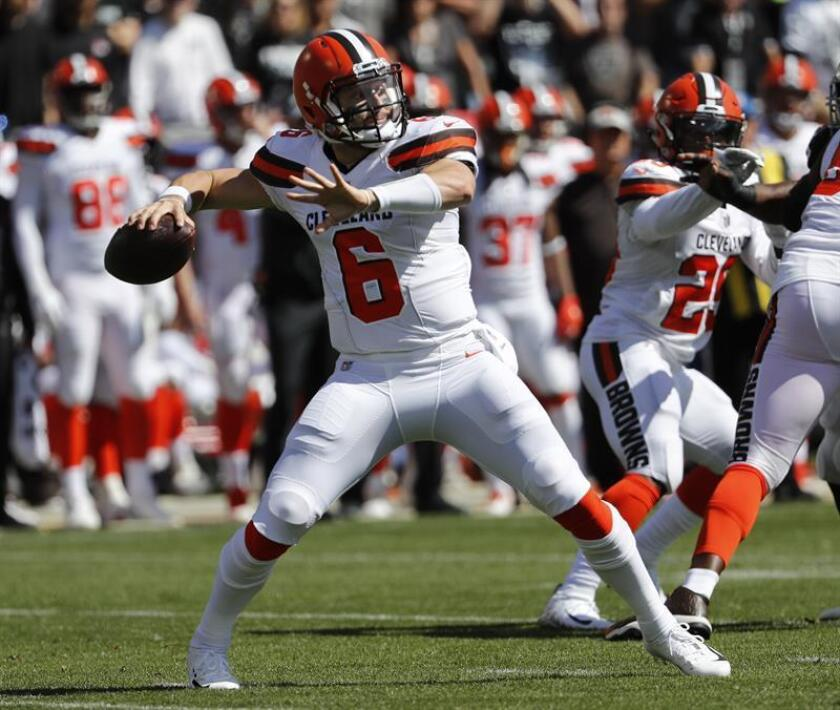 Cleveland Browns quarterback Baker Mayfield throws a pass against the Oakland Raiders during the first half of the National Football League (NFL) game played at the Oakland Coliseum in Oakland, California, on Sept. 30, 2018. EPA-EFE FILE/JOHN G. MABANGLO