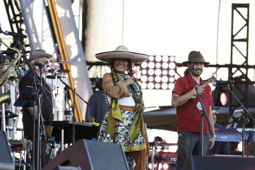 Lila Downs, who once followed the Grateful Dead from concert to concert, performed at the Riseup as One bi-lingual live music event at the Cross Border Xpress in Otay San Diego in 2016. (Alejandro Tamayo/Union-Tribune)