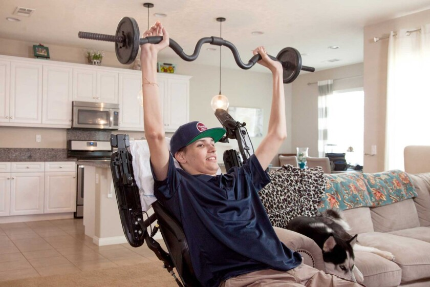 Kris Boesen, a spinal cord injury patient in clinical trial