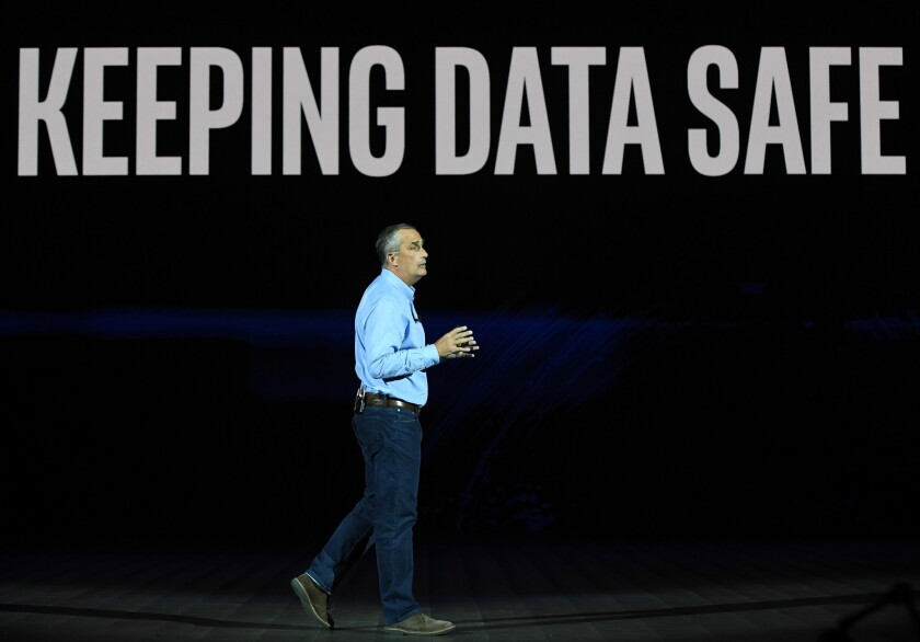 Intel Corp. CEO Brian Krzanich delivers a keynote address at CES 2018 at Park Theater at Monte Carlo Resort and Casino in Las Vegas on January 8, 2018 in Las Vegas, Nevada.