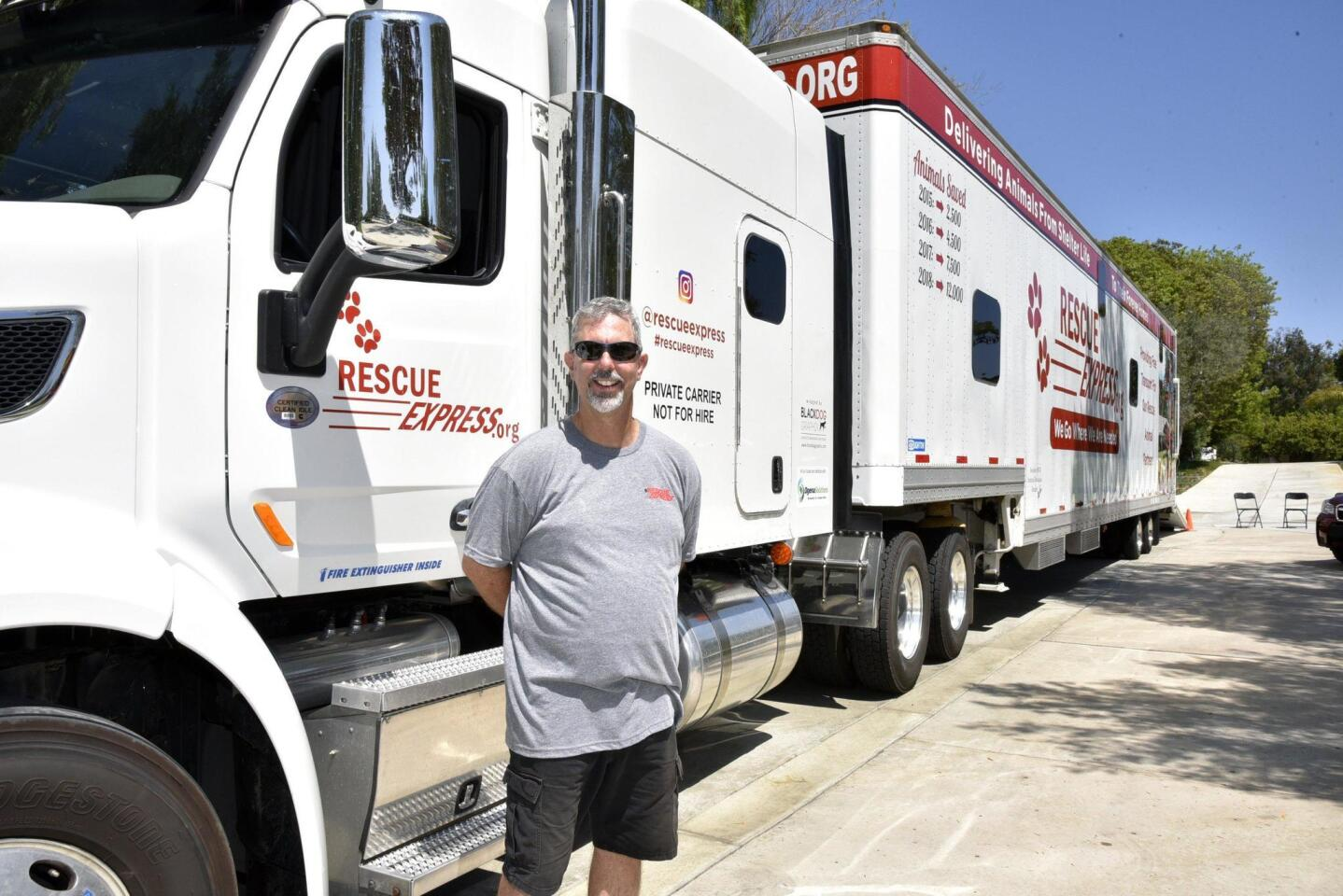 John Mercer transports the animals in the Rescue Express truck
