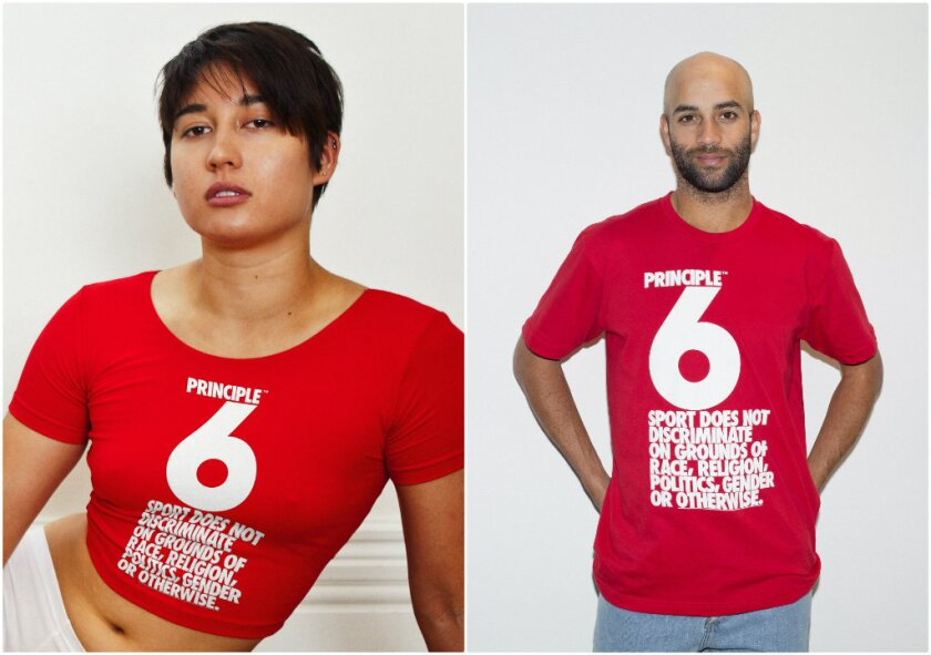Sochi-bound Olympic snowboarder Belle Brockhoff, left, and professional tennis player James Blake model pieces from American Apparel's new Principle 6 collection, which will benefit LGBT advocacy groups in Russia.