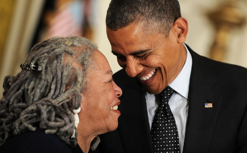 Writer Toni Morrison is awarded the Presidential Medal of Freedom by President Obama at the White House on May 29, 2012.