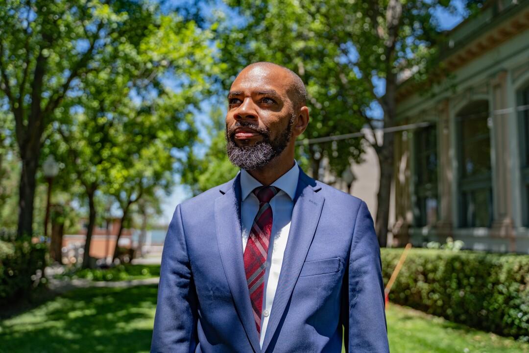 Mayor Lamar Thorpe walks in Waldie Plaza in Antioch.