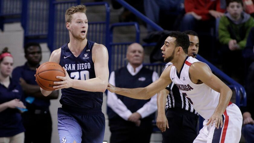 USD's Cameron Neubauer (left) led the Toreros with 18 points in Thursday's loss to Pacific.