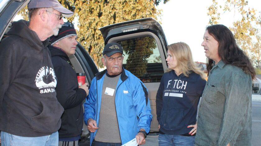 Dave Patterson, left, and Mark Baker, right, pictured at the start of last year's homeless count, will coordinate Ramona's fourth annual homeless count Friday.