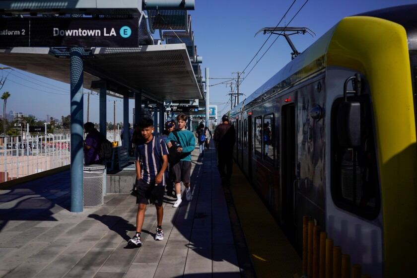 Metro riders disembark at Expo/La Brea Station in Santa Monica in September
