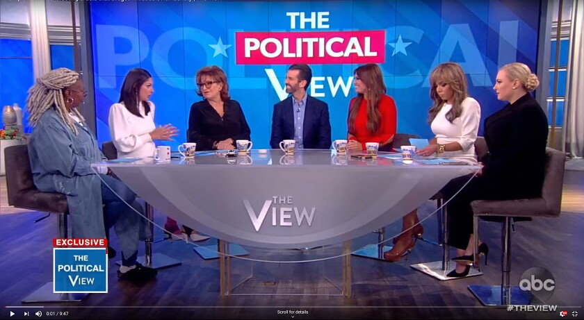 """The View"" co-host Sunny Hostin, second from right, was upset over Fedida allegedly calling her ""low rent."""