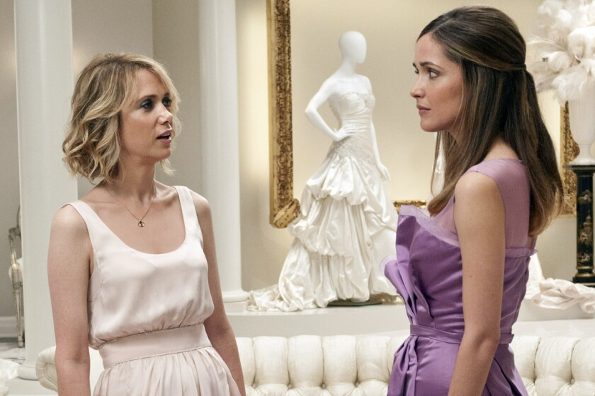 """Kristen Wiig, left, and Rose Byrne in the movie """"Bridesmaids."""""""