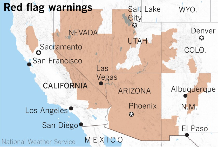 Widespread red flag fire warnings are in effect this weekend in the West.