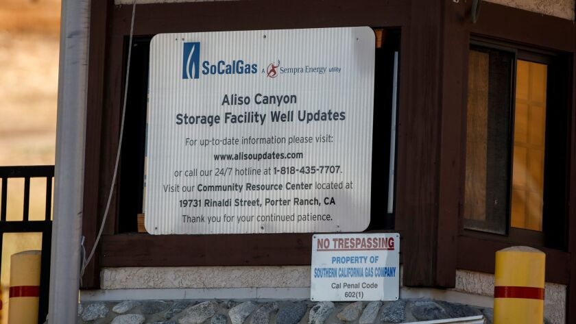 The main entrance of Southern California Gas Co.'s Aliso Canyon facility, which reopened at the end of July.