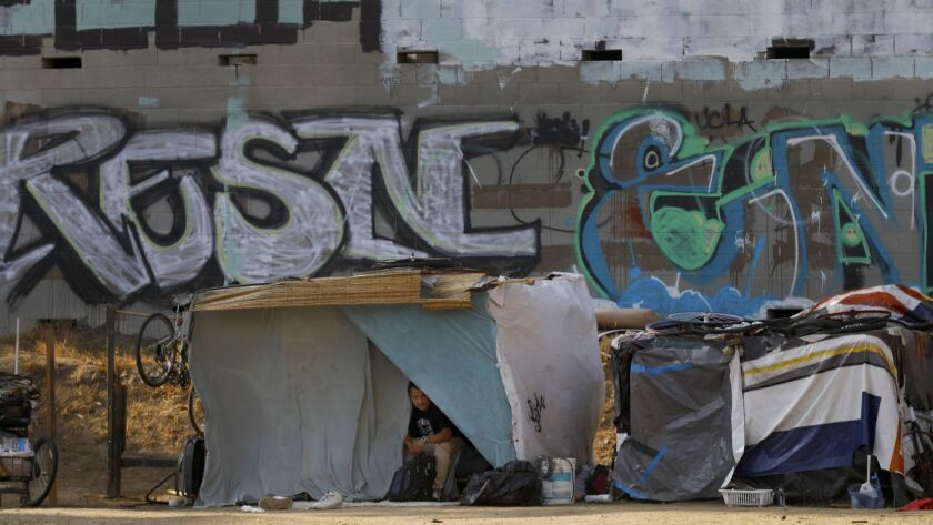 A man peeks out of a tent near the corner of South Hobart and 7th Street in the Koreatown neighborhood of Los Angeles.