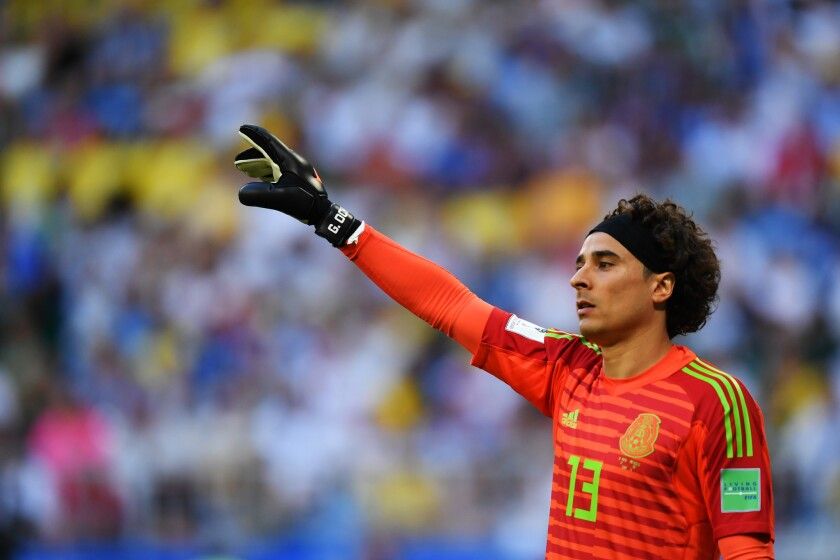 Guillermo Ochoa of Mexico looks on during the 2018 FIFA World Cup Russia Round of 16 match between Brazil and Mexico at Samara Arena on July 2, 2018 in Samara, Russia.
