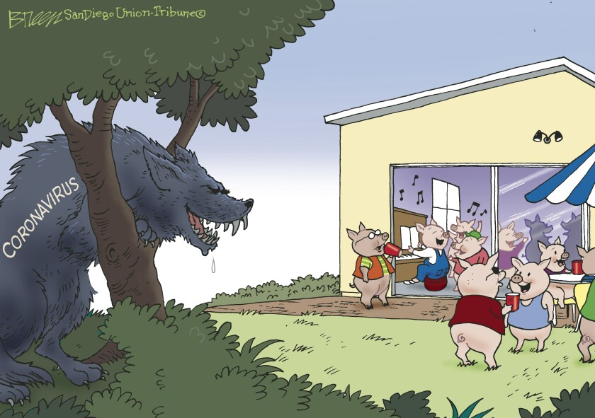 in this cartoon, a wolf labeled 'coronavirus' drools as he watches a house party of little pigs from the nearby woods.