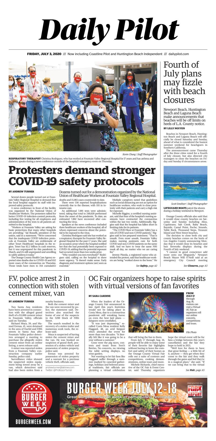 Daily Pilot e-Newspaper: Friday, July 3, 2020 Cover