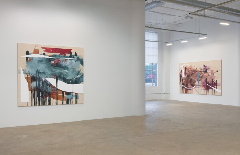 An installation view of Elizabeth Neel's solo show at Vielmetter Los Angeles